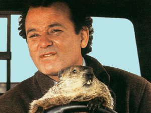 Obviously, the groundhog represents the Buddhist vice of torpor.